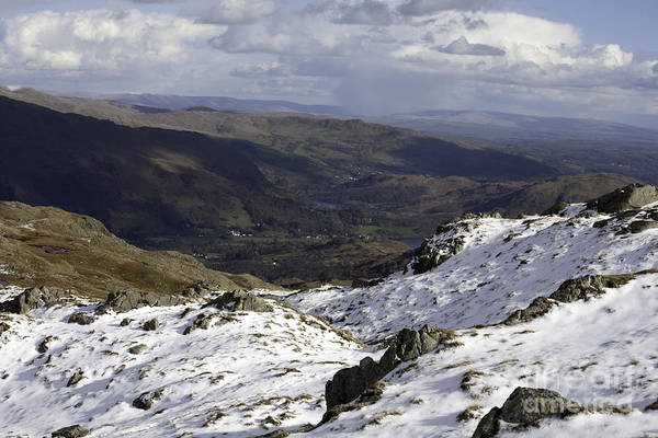 Grasmere Wall Art - Photograph - Grasmere And Rydal Water From Below Codale Head On High Raise Grasmere Lake District Cumbria England by Michael Walters