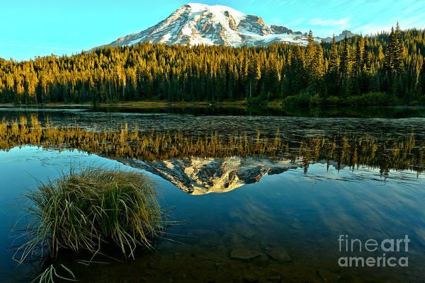 Photograph - Grassy Rainier Reflections by Adam Jewell