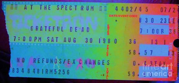 Phil Lesh Photograph - Grateful Dead - Ticket Stub by Susan Carella