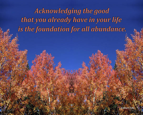 Gratitude Is The Foundation For Abundance Art Print