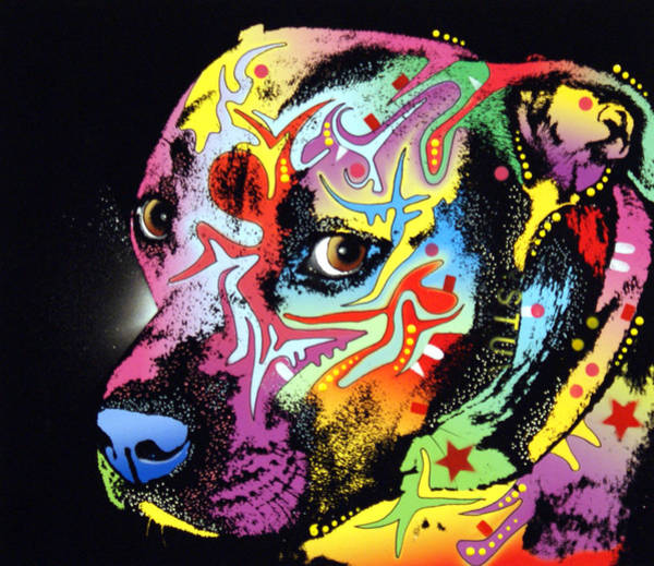 Pitbull Painting - Gratitude Pit Bull Warrior by Dean Russo Art