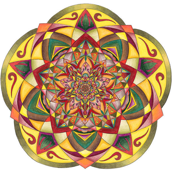 Sacred Geometry Drawing - Gratitude by Sarah A Greene
