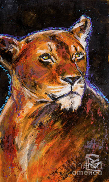 Rosemary Painting - Gratitude Series Lioness II by Rosemary Conroy