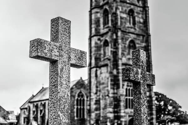 Photograph - Grave Cross With Blurred Church In Background F by Jacek Wojnarowski