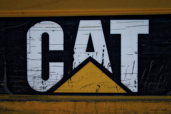 Gravel Road Photograph - Gravel Pit Cat Signage Hydraulic Excavator by Thomas Woolworth