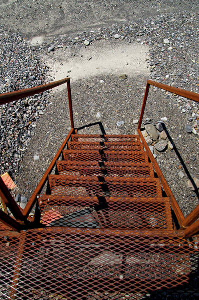 Wall Art - Photograph - Gravel Pit Grinder Rusty Staircase by Thomas Woolworth