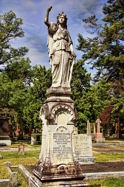 Photograph - Gravestone In Ross Bay Cemetery - Victoria British Columbia by Peggy Collins