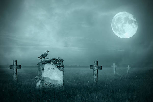 Cemetaries Wall Art - Photograph - Gravestones In Moonlight by Jaroslaw Grudzinski
