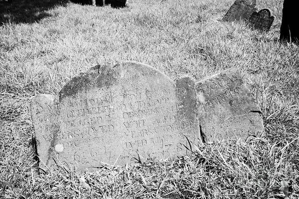 Wall Art - Photograph - Gravestones Of William Copps Children David And Thomas In Copps Hill Burying Ground The Oldest Survi by Joe Fox