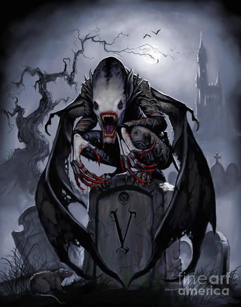 Digital Art - Graveyard Vampire by Stanley Morrison