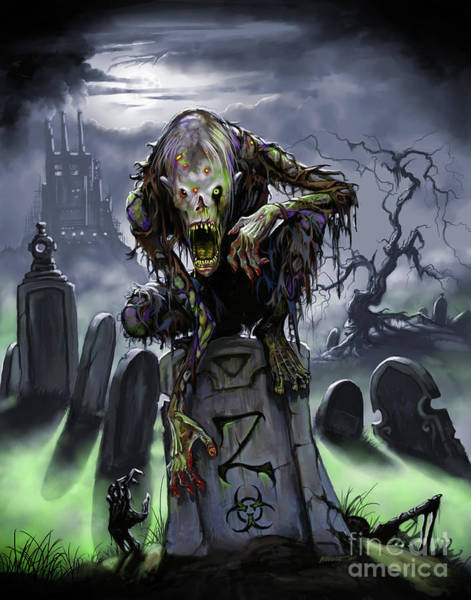 Digital Art - Graveyard Zombie by Stanley Morrison