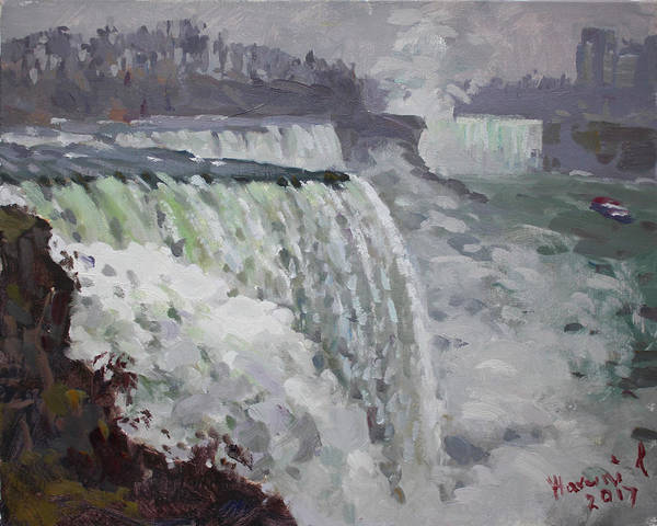 Wall Art - Painting - Gray And Cold At American Falls by Ylli Haruni