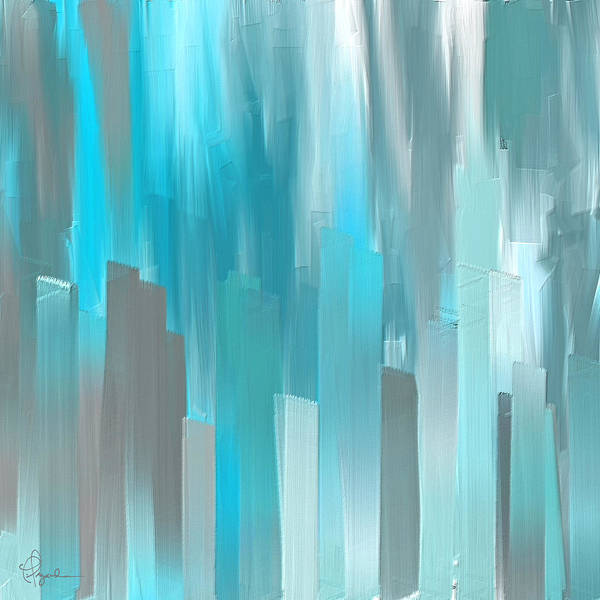 Wall Art - Painting - Gray And Teal Abstract Art by Lourry Legarde