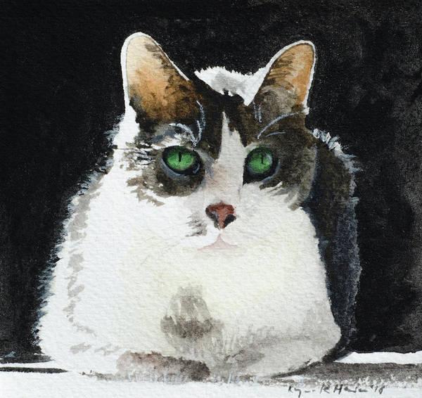 Painting - Gray Cat by Lynn Hansen