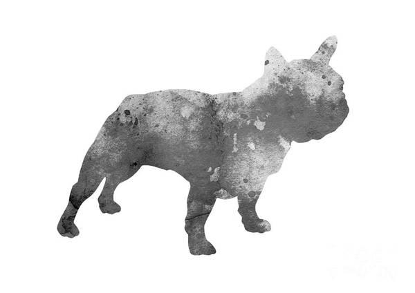 Wall Art - Painting - Gray French Bulldog Minimalist Painting by Joanna Szmerdt