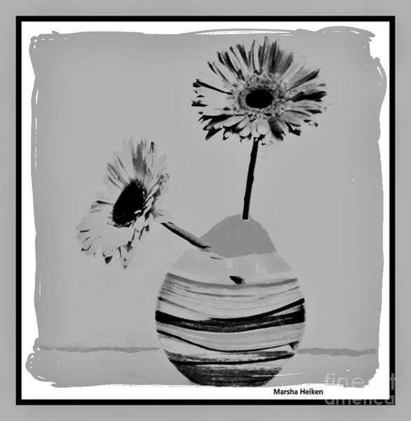 Wall Art - Mixed Media - Gray Gerbers by Marsha Heiken