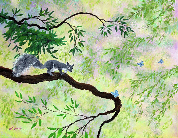 Oregon Wildlife Wall Art - Painting - Gray Squirrel And Blue Butterfly by Laura Iverson