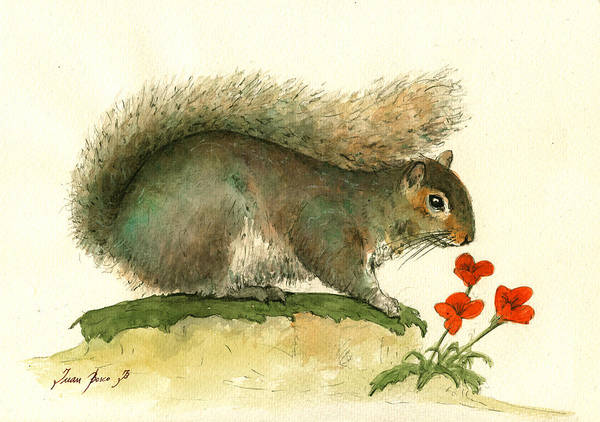 Gray Wall Art - Painting - Gray Squirrel Flowers by Juan Bosco