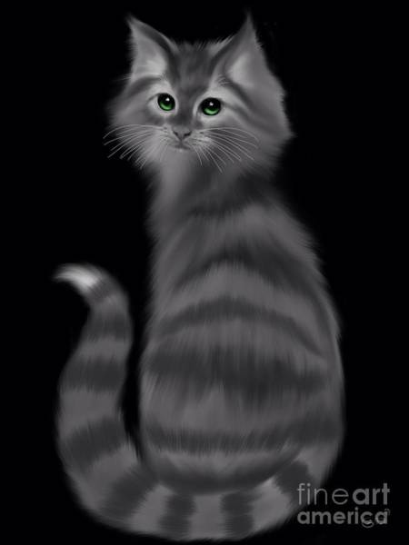 Wall Art - Painting - Gray Striped Cat by Nick Gustafson
