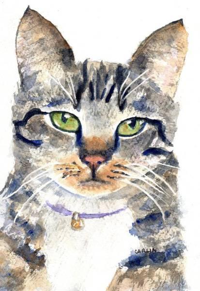Painting - Gray Tabby Cat Watercolor by Carlin Blahnik CarlinArtWatercolor