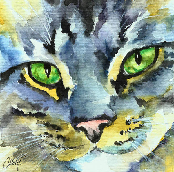 Painting - Gray Tabby Striped Cat by Christy Freeman Stark