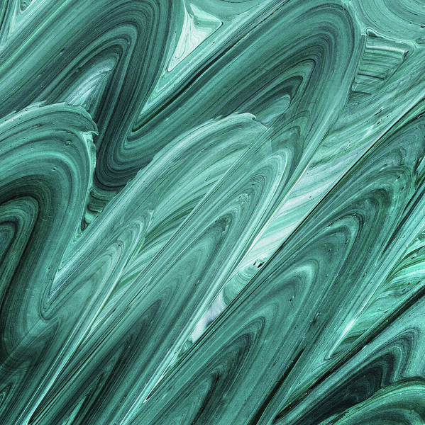 Painting - Gray Teal Waves Organic Abstract For Interior Decor Xi by Irina Sztukowski