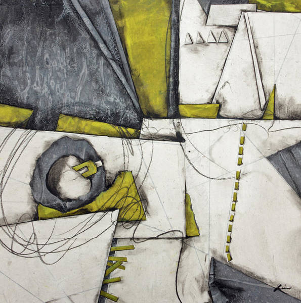 Triangle Mixed Media - Gray, White, Green Gold  by Laura Lein-Svencner