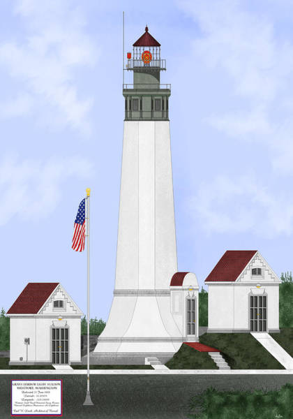 Wall Art - Painting - Grays Harbor Light Station Historic View by Anne Norskog