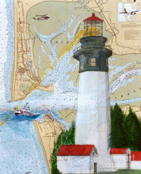 Cathy Painting - Grays Harbor Wa Lighthouse Uscg Plane Nautical Chart Map Peek by Cathy Peek