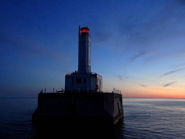 Photograph - Grays Reef Lighthouse At Dusk by Keith Stokes