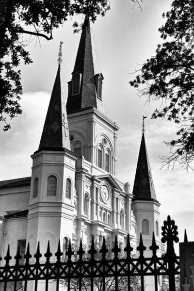 Photograph - Grayscale St. Louis Cathedral by Debi Dalio