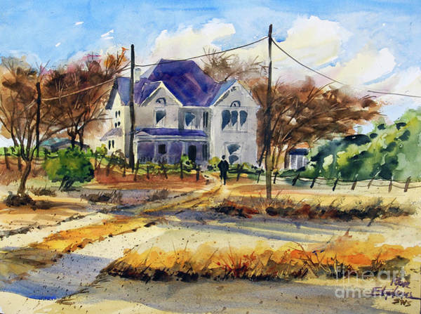 Utility Poles Painting - Grayson County Farmhouse by Ron Stephens
