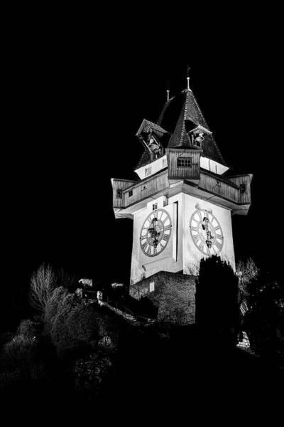 Photograph - Graz Clock Tower Bw by Ivan Slosar