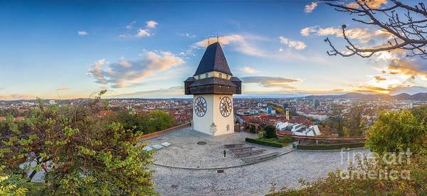 Wall Art - Photograph - Graz Sunset Panorama by JR Photography