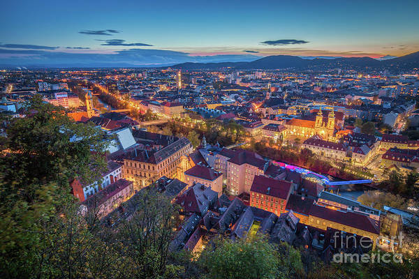 Wall Art - Photograph - Graz Twilight Panorama by JR Photography