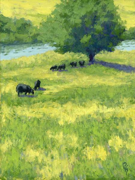 Painting - Grazing By The Bear River by David King