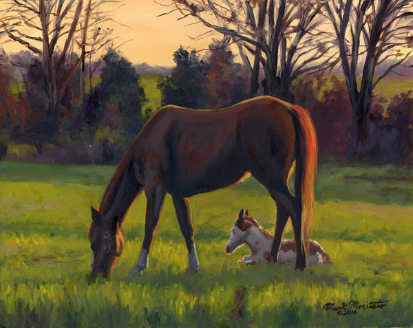 Wall Art - Painting - Grazing Horse With Foal by Mark Maritato