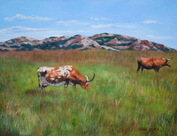 Longhorn Painting - Grazing Longhorns by Jean Peace