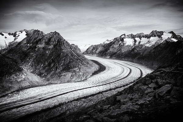Photograph - Great Aletsch Glacier Switzerland Black And White by Matthias Hauser