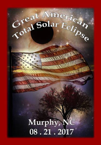 Digital Art - Great American Eclipse American Flag T Shirt Art by Debra and Dave Vanderlaan