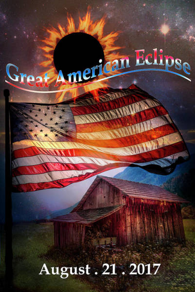 Photograph - Great American Eclipse Flag And Barn Art by Debra and Dave Vanderlaan