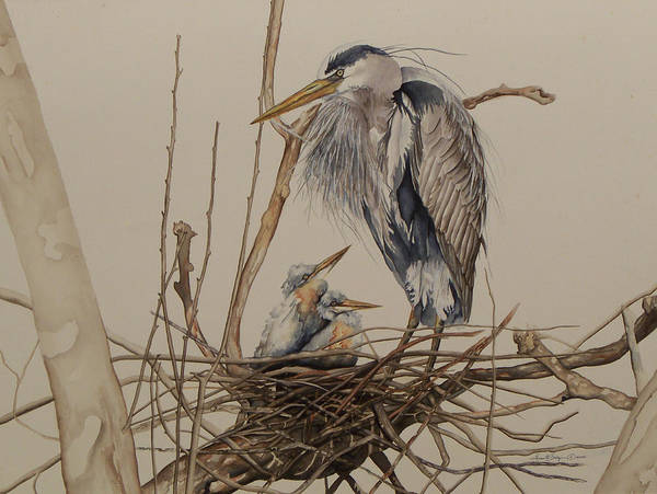 Painting - Great Blue Heron And Chicks by Laurie Tietjen
