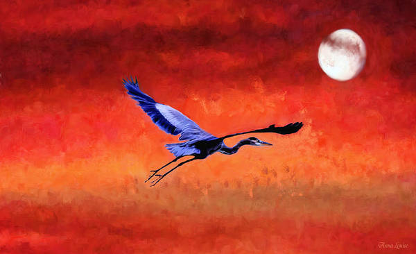 Photograph - Great Blue Heron And Moon by Anna Louise