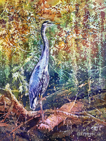 Waterfowl Wall Art - Painting - Great Blue Heron by Hailey E Herrera