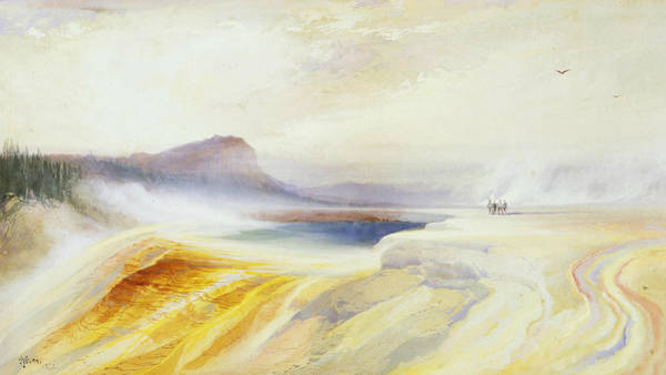 Firehole River Wall Art - Painting - Great Blue Spring Of The Lower Geyser Basin by Thomas Moran