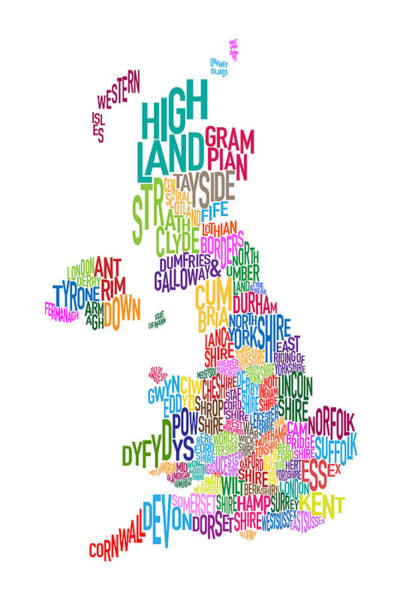 Cartography Digital Art - Great Britain County Text Map by Michael Tompsett