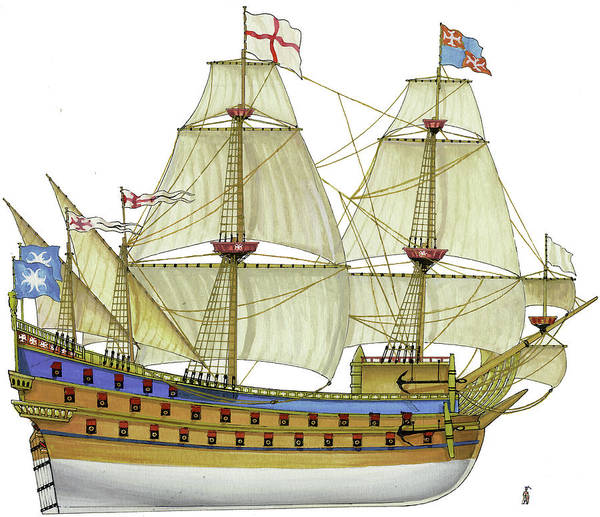 Wall Art - Drawing - Great Carrack Of Malta by The Collectioner