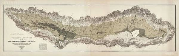 Wall Art - Drawing - Great Central Valley Of California - Topographical Map - Irrigation Map - Historical Map by Studio Grafiikka
