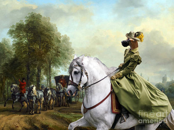 Wall Art - Painting - Great Dane Art - Meeting Horse Carriage And Noble Lady by Sandra Sij