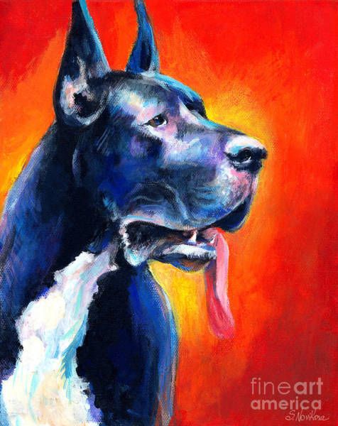 Commission Wall Art - Painting - Great Dane Dog Portrait by Svetlana Novikova